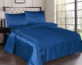 Shine Glans Satijn Dekbedovertrek - Blauw Maat: Lits-jumeaux (240 x 220 cm + 2 kussenslopen 60x70cm)