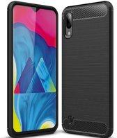 Teleplus Samsung Galaxy A10 Custom Carbon Silicone Case Black + Nano Screen Protector hoesje