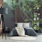Fotobehang Hangbrug in de Jungle  336x260 cm - topkwaliteit fotobehang - bomen bos behang