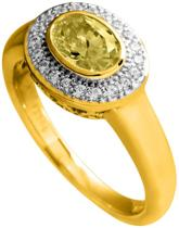 Diamonfire - Zilveren ring met steen Maat 18.5 - Geelgoudverguld - Ovale gele steen