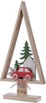 Kerstboom auto hout 14x27cm rood Kerstartikelen