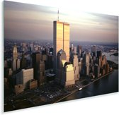 Luchtfoto van Manhattan's World Trade Center boven de Hudson rivier in New York Plexiglas 180x120 cm - Foto print op Glas (Plexiglas wanddecoratie) XXL / Groot formaat!