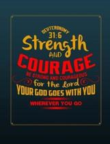 Be Strong & Courageous Christian Journal Notebook Sermon Notes Bible Study Diary