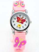 Meisjes horloge roze met vlinder afbeelding