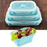 Schaalbaar opvouwbare Food-grade siliconen geïsoleerd 3 vakken Container Bento Box Kit(Blue)