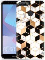 Huawei Y6 2018 Hoesje Black-white-gold Marble