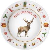 Gepersonaliseerd kunststof eetbordje - kerstmis - familie - hert - kerst decoratie - kerstcadeau - handgeschilderd door Mies - aquarel