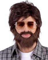 Pruik Dude met baard en snor