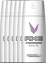 Axe Excite Dry For Men - 6 x 150 ml - Anti-Transpirant Deodorant Spray - Voordeelverpakking