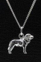 Zilveren Mastiff ketting hanger - groot