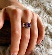 Zilveren ring met Amethist natuursteen
