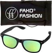 Fako Fashion® - Zonnebril - Wayfarer - Mat Zwart - Spiegel Geel/Groen