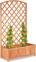 relaxdays klimrek met plantenbak groot - houten plantenrek - rankhulp - dennenhout naturel