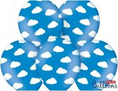 Blauwe ballonnen met wolkjes - ballon met wolken