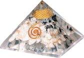 Organiet Piramide Regenboog Maansteen met Flower of Life