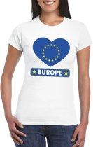 Europa hart vlag t-shirt wit dames L