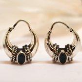 Natuursieraad -  925 sterling zilver onyx oorringen creolen - luxe edelsteen sieraad - handgemaakt