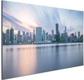 Manhattan New York skyline zonsondergang Aluminium 90x60 cm - Foto print op Aluminium (metaal wanddecoratie)