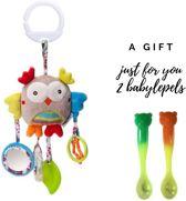 Zachte pluche knuffel Uil (Tijdelijk 2 warmtegevoelige babylepels cadeau!) - Kraamcadeau - Baby speelgoed - Kinderwagen rammelaar