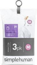 Simplehuman Afvalzak Code M - Voor Pocket Liners - 45 l - Set van 3 x 20 Stuks