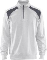 Blåkläder 3353-1158 Sweatshirt Bi-Colour met halve rits Wit/Grijs maat XS
