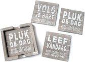Houten Onderzetters met Teksten - 6 stuks - 12cm - Kleur Taupe