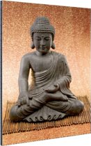 Hindoe Boedha standbeeld Aluminium 120x180 - XXL cm - Foto print op Aluminium (metaal wanddecoratie)