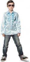 Rouches blouse lichtblauw voor jongens 140