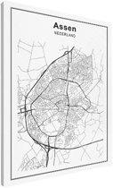 Stadskaart klein - Assen canvas 30x40 cm - Plattegrond