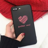 Apple iPhone 7/8 Plus – TPU hoesje zwart met rood hartje met tekst