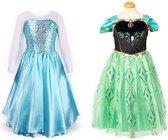 Prinses Elsa verkleedjurk met sleep + Anna jurk maat 128/134 (labelmaat 140)