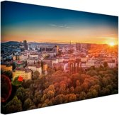 Zonsondergang in Wenen Canvas 30x20 cm - Foto print op Canvas schilderij (Wanddecoratie woonkamer / slaapkamer) / Steden Canvas Schilderij