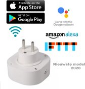 Wifi Slimme Stekker Google Home- Smart plug -Werkt met Google Assistant en Alexa- Op afstand bedienbaar via Gratis App - Werkt met smartphone en Tablet- Wifi stopcontact - Alexa - Klik aan klik uit via de App -Bespaar Energie met de Energiemeter -