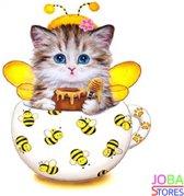 "Diamond Painting ""JobaStores®"" Kitten Geel - volledig - 30x30cm"