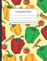 Composition Book Graph Paper: Quad Rule (4x4) Graph Paper, Four Squares per Inch Journal Notebook for Math, Science, School, Home or Work, Vegetable
