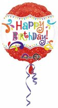 Helium Ballon Happy Birthday Rood Glitter 43cm leeg
