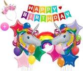 Eenhoorn Feestpakket - All-in-one Feestpakket + Eenhoorn Kroontje - Decoratie-   (Kinder)Feestje - Ballonnen -  Happy Birthday - Verjaardag - Doe het zelf - Unicorn - Meisjes