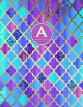 Monogram Journal a - Personal, Dot Grid - Blue & Purple Moroccan Design