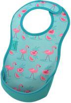 Bibetta- Neopreen - Slab - Helder blauw - Flamingo met print