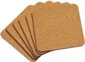 SET van 6 STUKS Onderzetters, Materiaal: Kurk | Vierkante Onderzetters Set | Afm. 10 x 10 x 0,3 Cm