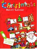 3X Kerst Adventkalender - Kleurboek met stickers - A4 formaat