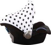 UKJE.NL Zonnekap voor Maxi-Cosi Cabriofix Citi Pebble Plus - Wit met zwarte plusjes (universeel) ♥