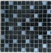 Mozaiek tegel glas zwart/blauw
