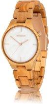 HOT&TOT - TAYGA | Olijfhout met wit marmer | Houten horloge voor hem en haar