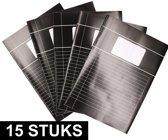 15x Zwarte A4 lijntjes schriften pakket - Voordeelpakket - Schoolschriften - Notitieschriften