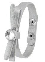Lucardi - Montini - Zilverkleurig byoux armbandje strik met steentje