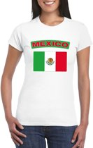 Mexico t-shirt met Mexicaanse vlag wit dames - maat S