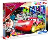 Clementoni - Superkleur legpuzzel + 3D-model - Disney Cars - 104 stukjes