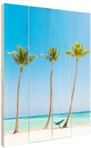 Caribisch strand 3 palmbomen Hout 20x30 cm - klein - Foto print op Hout (Wanddecoratie)
