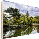 Vijverlandschap in Japanse Gion bij Kyoto Vurenhout met planken 60x40 cm - Foto print op Hout (Wanddecoratie)
